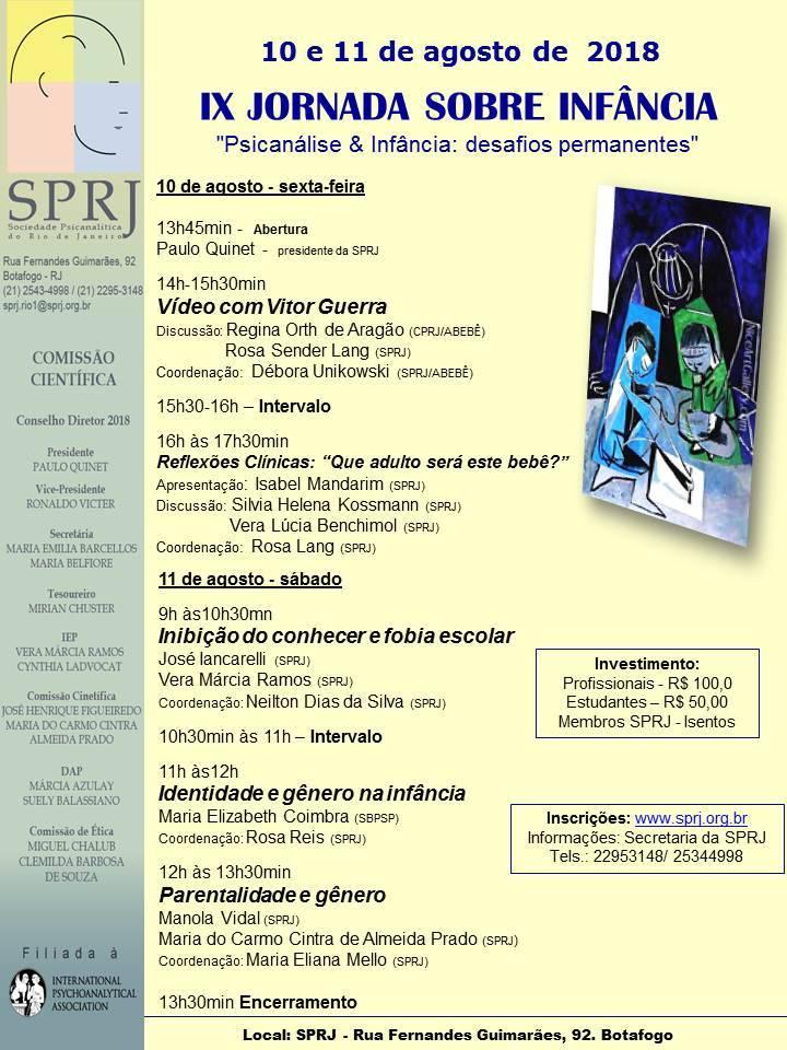 IX Jornada Sobre a Infância @ SPRJ | Rio de Janeiro | Brasil