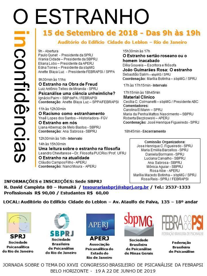 Jornada sobre o tema do XXVII Congresso Brasileiro de Psicanálise da FEBRAPSI