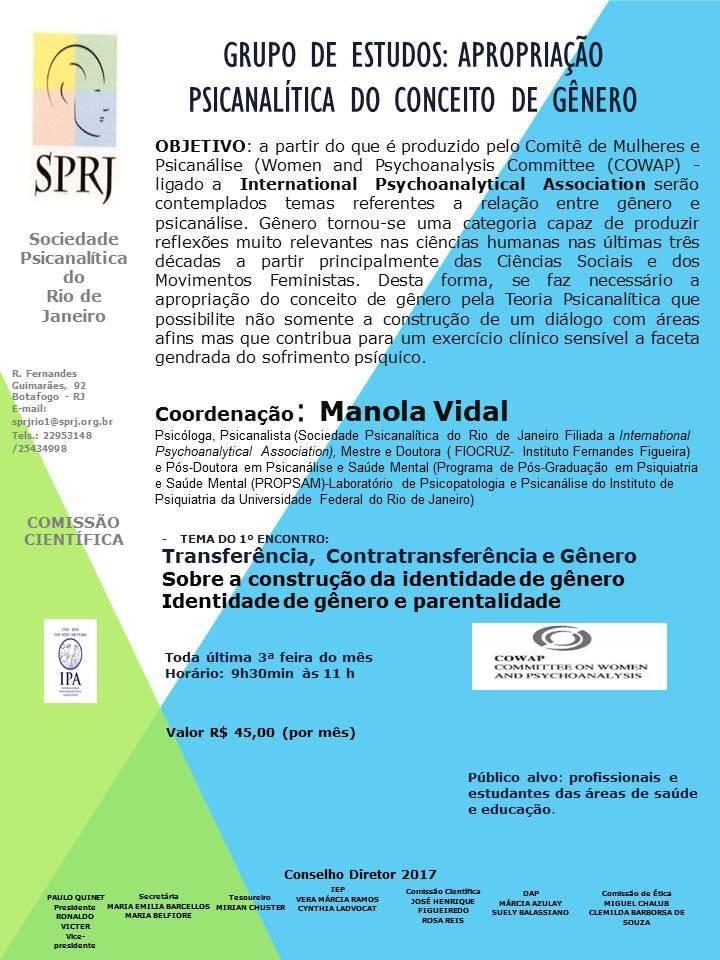 Grupo de Estudos: Apropriação Psicanalítica do Conceito de Gênero @ SPRJ | Rio de Janeiro | Brasil