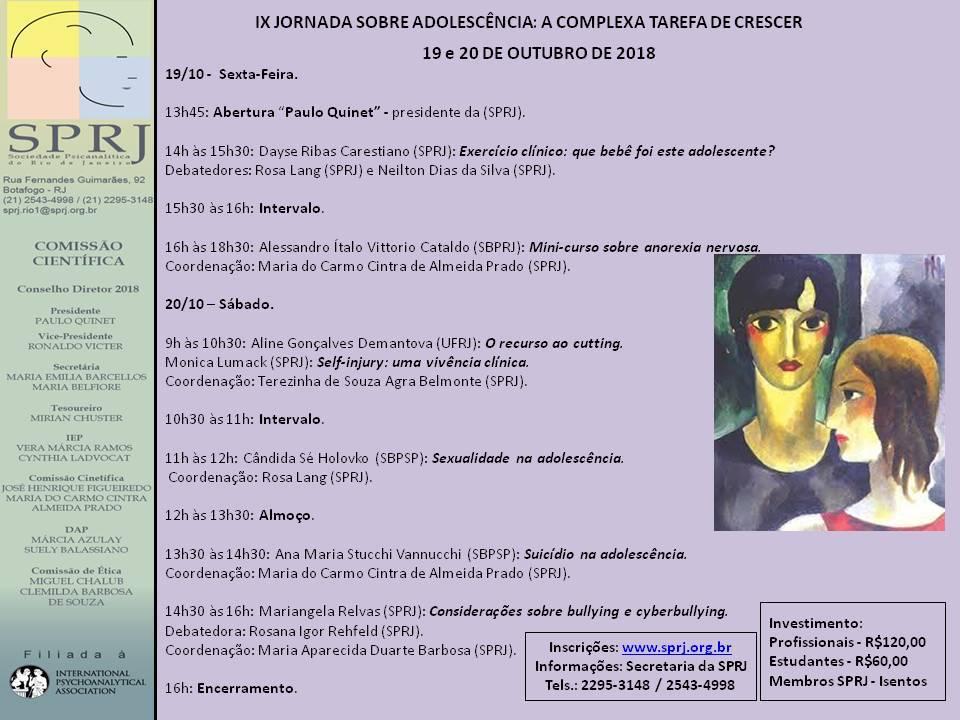 IX Jornada Sobre Adolescência: A Complexa Tarefa de Crescer @ SPRJ | Rio de Janeiro | Brasil