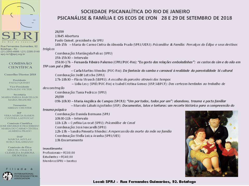 Psicanálise e Família e os Ecos de Lyon @ SPRJ | Rio de Janeiro | Brasil