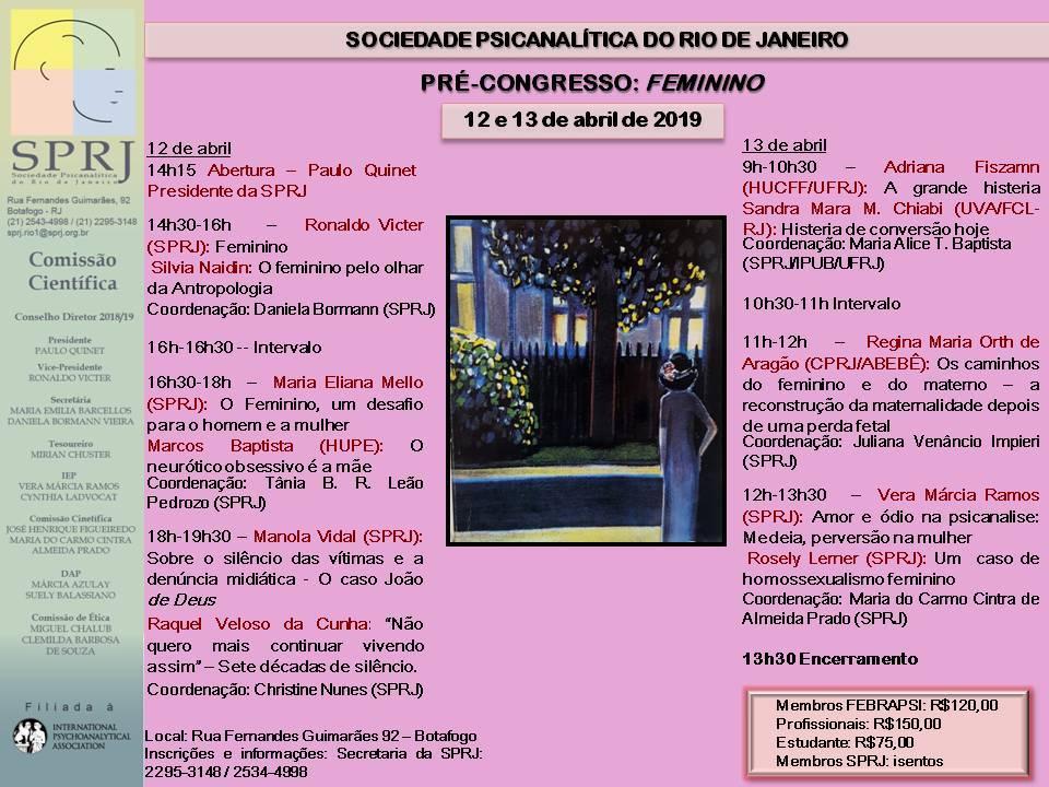 Pré-Congresso: Feminino @ SPRJ | Rio de Janeiro | Brasil