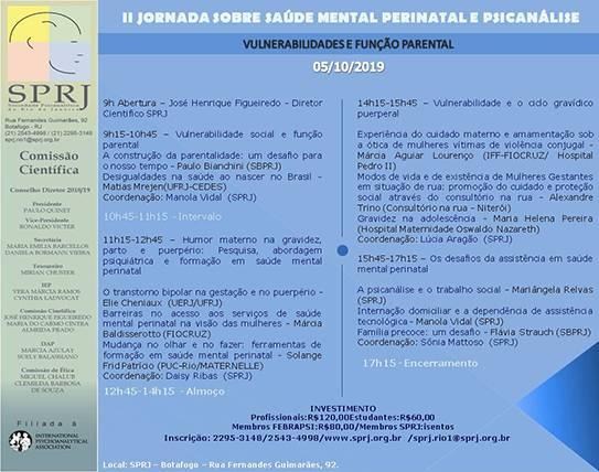 II Jornada sobre Saúde Mental Perinatal e Psicanálise @ SPRJ | Rio de Janeiro | Brasil