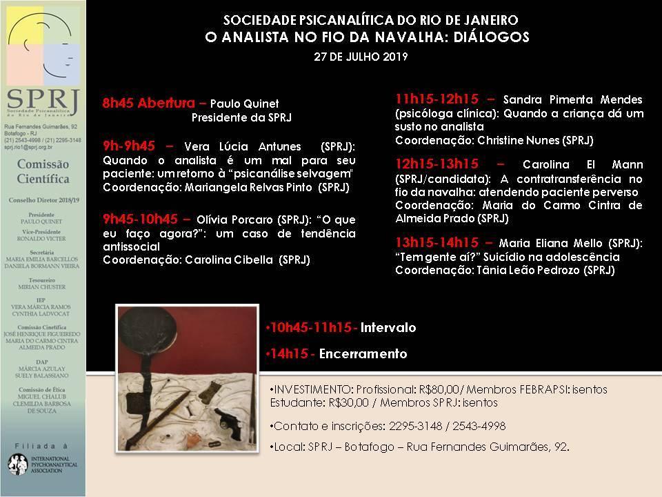 O analista no fio da navalha: diálogos @ SPRJ | Rio de Janeiro | Brasil