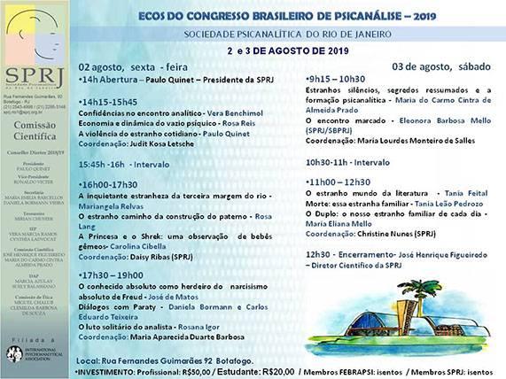 Ecos do Congresso Brasileiro de Psicanálise - 2019 @ SPRJ | Rio de Janeiro | Brasil