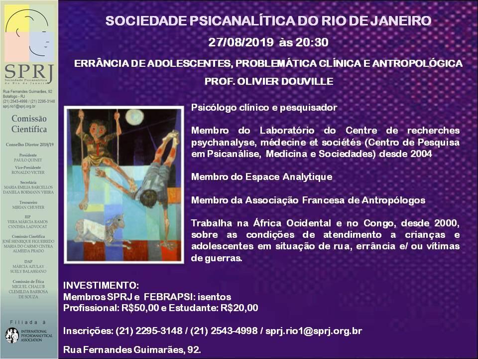 Errância de Adolescentes, problemática Clínica e Antropológia @ SPRJ | Rio de Janeiro | Brasil
