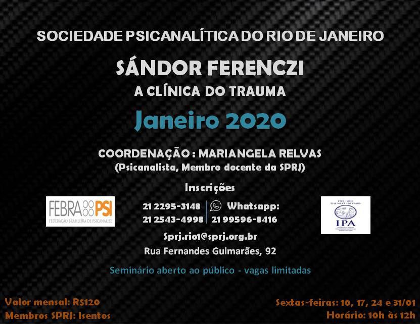 Sándor Ferenczi - A Clínica do Trauma @ SPRJ | Rio de Janeiro | Brasil