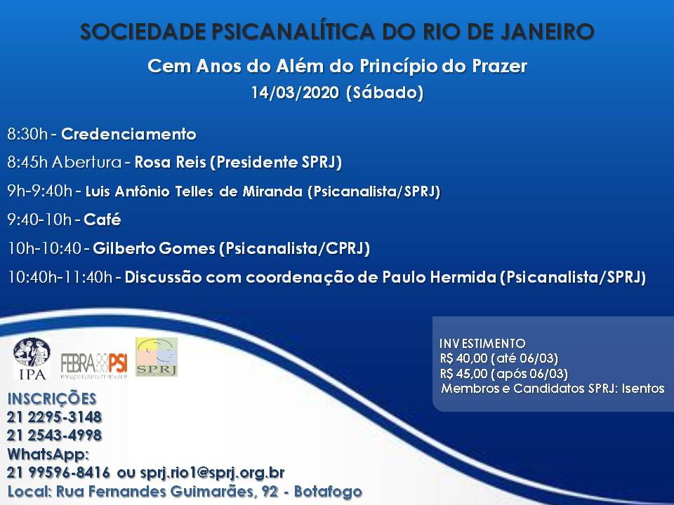 Cem Anos do Além do Princípio do Prazer @ SPRJ | Rio de Janeiro | Brasil