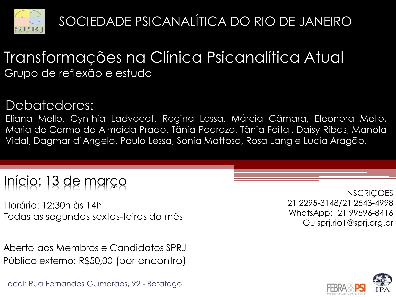 Transformacoes na clinica psicanalitica atual @ SPRj | Rio de Janeiro | Brasil