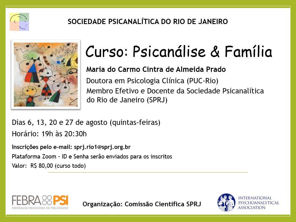 Curso: Psicanálise & Família @ Plataforma Zoom - ID e senha serão enviados para os inscritos