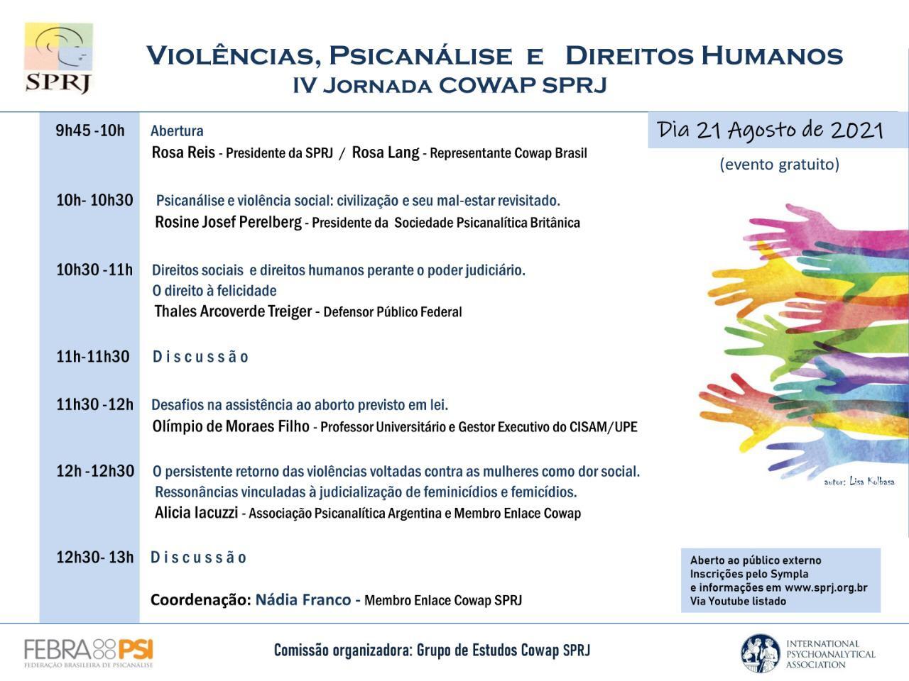 Violências, Psicanálise e Direitos Humanos - IV Jornada COWAP SPRJ @ on-line